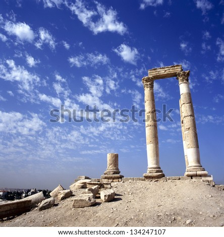 Hercules Temple in Amman. At background the city of Amman, Jordan