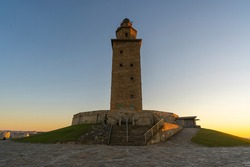 Hercules Tower, roman lighthouse located in La Coruna city, Spain.