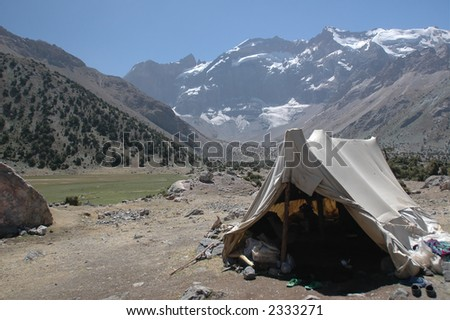 Herder's tent in mountains near pastures. Tajikistan.