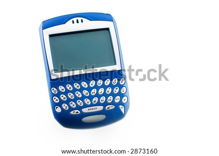 here is a non branded handheld pda blackberry, wireless device, secluded on a white ground.