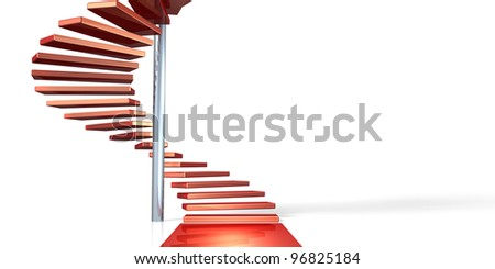 Here is the beginning of a spiral staircase. It represents the road to sublimation. This is a computer generated image,on white background.