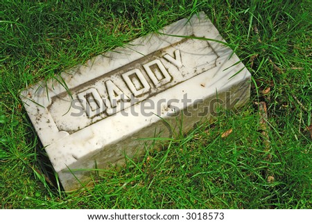 Here Lies Daddy At Rest-Memorial grave marker at historic Spring Grove Cemetery in Cincinnati Ohio USA, the second largest cemetery in the United States, established in 1845.