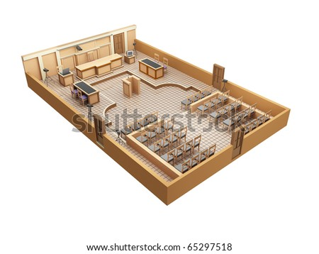 here shows a model of a courtroom