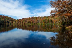 Here we see a perfect fall afternoon on this beautiful lake in October.  This small lake is near Suches, Georgia and the Appalachian Trail passes close by.