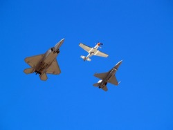 Heritage formation flight of old and modern military planes