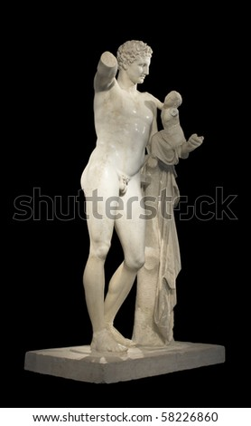 Hermes and Dionysus, ancient classical Greek statue of Hermes of Praxiteles (museum of ancient Olympia, Greece)