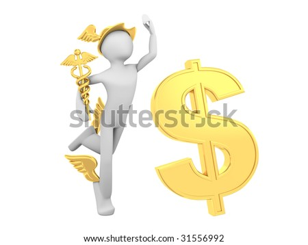 Hermes (Mercury) with Caduceus and Dollar Sign