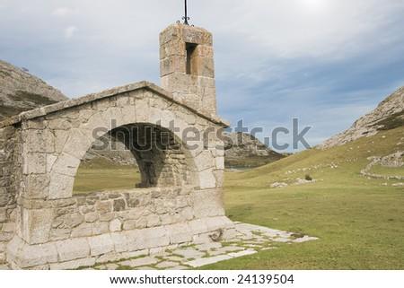 Hermitage of buen pastor in the national park of Picos de Europa, Principado de Asturias (Spain)