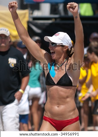 HERMOSA BEACH, CA. - AUGUST 8: Jen Kessy and April Ross vs. Nicole Branagh and Elaine Youngs (pictured) for the womens final of the AVP Hermosa Beach Open. August 8, 2009 in Hermosa Beach.