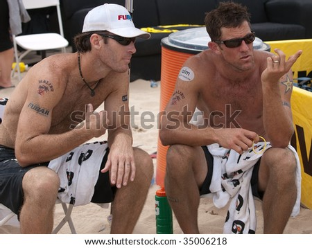 HERMOSA BEACH, CA. - AUGUST 9:  John Hyden (L) and Sean Scott (R) after the mens final of the AVP Hermosa Beach Open. August 9, 2009 in Hermosa Beach.