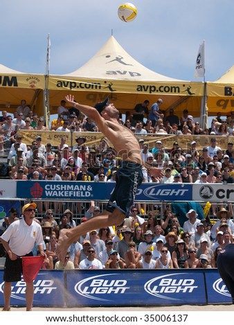 HERMOSA BEACH, CA. - AUGUST 9: Phil Dalhausser (pictured) and Todd Rogers vs. John Hyden and Sean Scott for the mens final of the AVP Hermosa Beach Open. August 9, 2009 in Hermosa Beach.