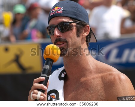 HERMOSA BEACH, CA. - AUGUST 9: Todd Rogers giving a speach after winning the mens final of the AVP Hermosa Beach Open. August 9, 2009 in Hermosa Beach.