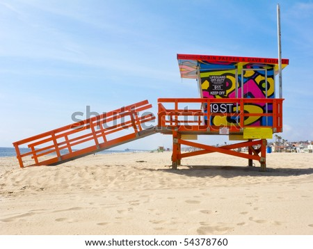 HERMOSA BEACH, CA - JUNE 1: The Portraits of Hope project transformed lifeguard towers along the LA Coastline by painting them with colorful artwork June 1, 2010 in Hermosa Beach, CA.