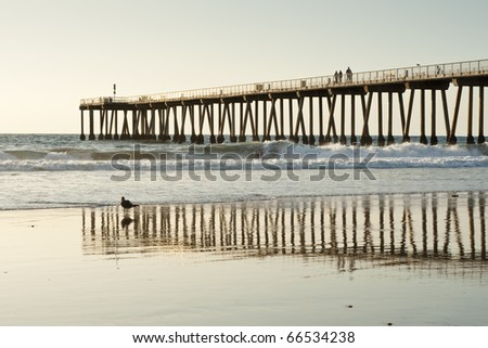 Hermosa Beach Pier California Sunset Reflections