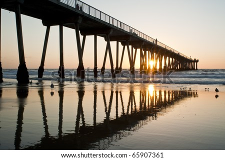 Hermosa Beach Pier Sunset Reflections