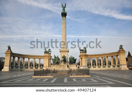 Hero`s Square in Budapest, Hungary