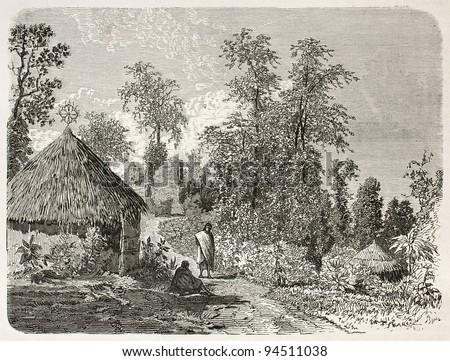 Heroe village near Gafat, Ethiopia. Created by Ciceri after Lejean, published on Le Tour du Monde, Paris, 1867 - stock photo