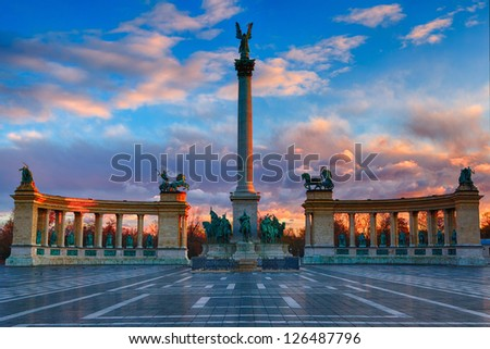 Heroes Square Budapest in morning. The photo was made after a rain, the reflection and the colors are real.
