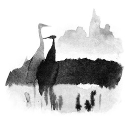 herons in the swamp stand in the water, birds against the background of the sun in the fog, traditional Chinese ink painting