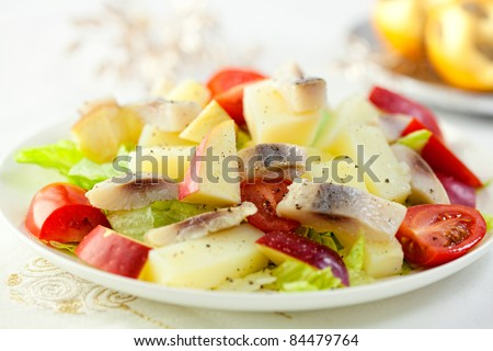 Herring and apple salad for christmas