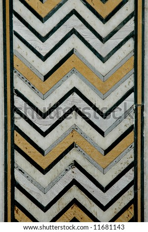 Herring bone pattern of inlayed marble