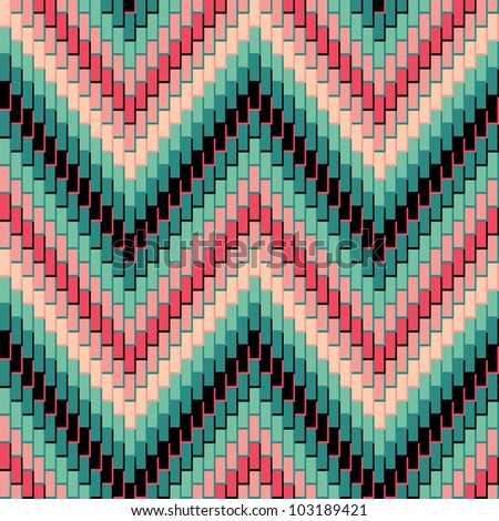Herringbone Pattern in Green and Pink has dimensional detail. Repeats seamlessly.