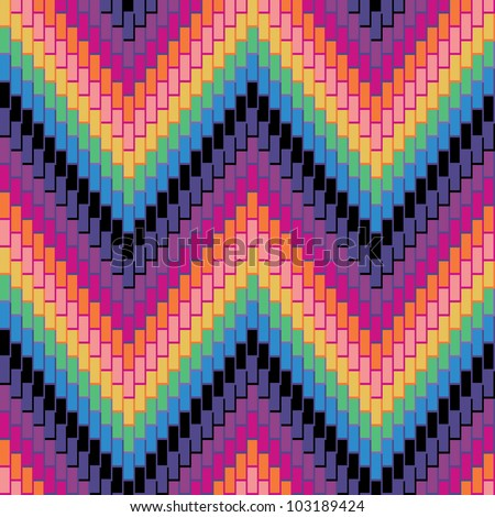 Herringbone Pattern in rainbow colors has dimensional detail. Repeats seamlessly.