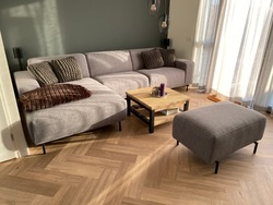 Herringbone PVC flooring with decoration