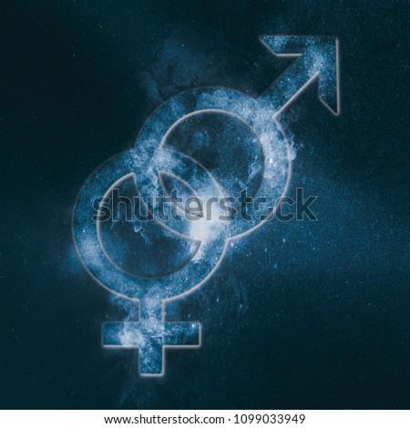 Heterosexual symbol. Heterosexual sign. Abstract night sky background #1099033949