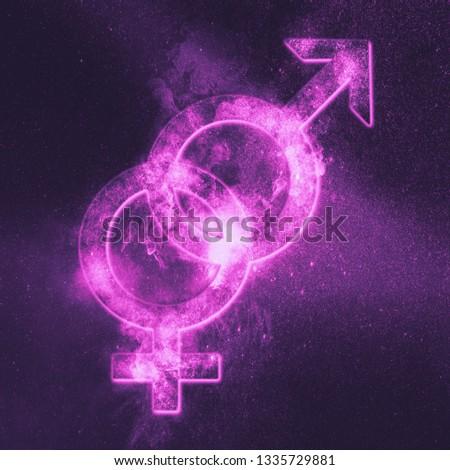 Heterosexual symbol. Heterosexual sign. Abstract night sky background #1335729881