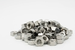 Hex nut,Close up hex nuts put row abstract style,Hexagon metal nut isolated on white,Hexagon Stanless nut isolated on white