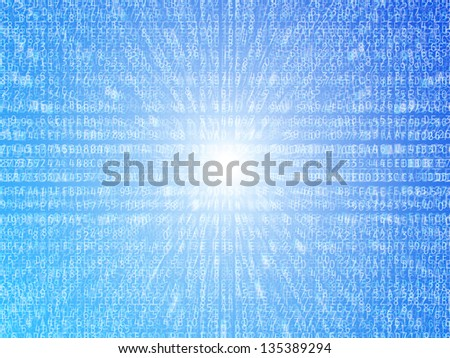 Hexadecimal data numbers and letters illustration background