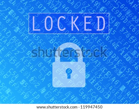 Hexadecimal numbers and letters with padlock symbol and Locked text background