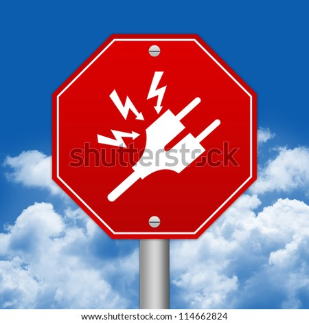 Hexagon Red Traffic Sign For High Voltage Against The Blue Sky Background