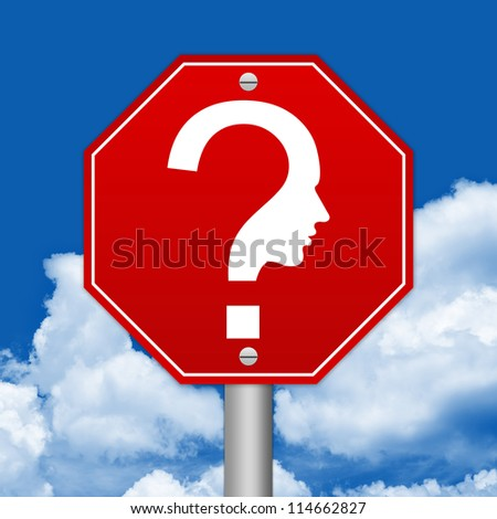 Hexagon Red Traffic Sign For Question and Confusion Sign Against The Blue Sky Background