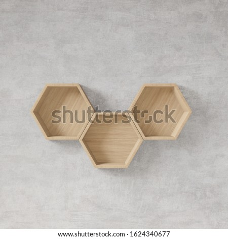 Hexagon shelf with raw concrete wall copy space,copy space,mock up,hexegon