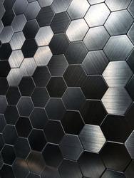 Hexagon steel tile texture. Futuristic Tiled Aluminum Background. Hexagonal patterns. Honeycomb backgroun.