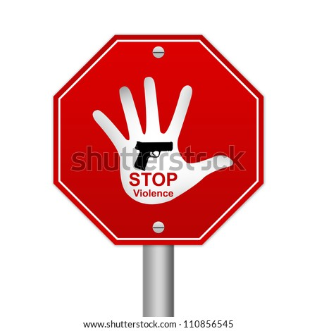 Hexagon Stop Violence Road Sign Isolated On White Background