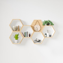 Hexagon wooden shelf, Minimal Japanese style. copy space hexegon, copy space.