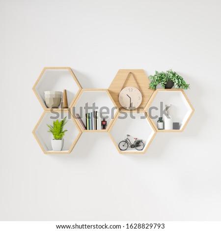 Hexagon wooden shelf, Minimal Japanese style. copy space hexegon, copy space. Foto stock ©
