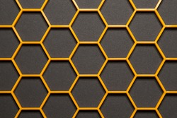 Hexagonal cells grid on black background. Abstract geometric texture. Honeycomb concept
