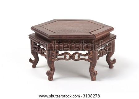 hexagonal miniature wood table