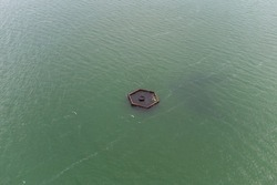 Hexagonal seawater pipe intake. Aerial view