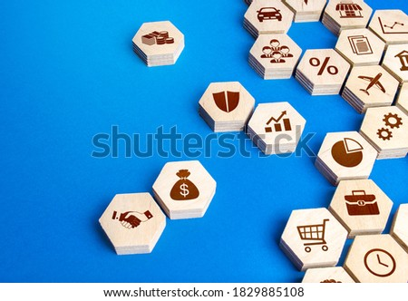 Hexagonal shapes with business attributes are collected into a single structure. The recipe for a successful business model. Make a new company. Management and development. New turquoise paradigm Photo stock ©