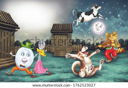 Hey Diddle Cat On the Fiddle Nursery Rhyme Digital Landscape Stock photo ©