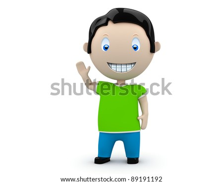 Hey! Social 3D characters: happy smiling boy waves his hand. New constantly growing collection of expressive unique multiuse people images. Concept for welcome or greeting illustration.