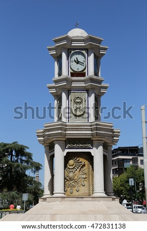 Heykel Clock Tower in Bursa City, Turkey Stok fotoğraf ©