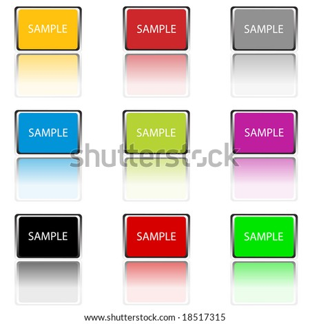 Hi Definition Raster Image of Buttons with Reflections #18517315