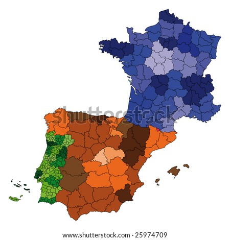 detailed map of france with cities. stock photo : hi detailed map
