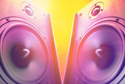 Hi end loudspeakers. Party design element with speaker. Audio equipment for home theater. Speakers boxes audio music concert. Audio stereo system.